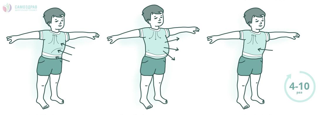 дыхательная гимнастика с детьми картинки левом